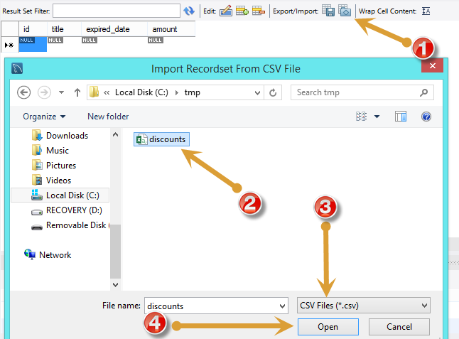 import csv into mysql workbench