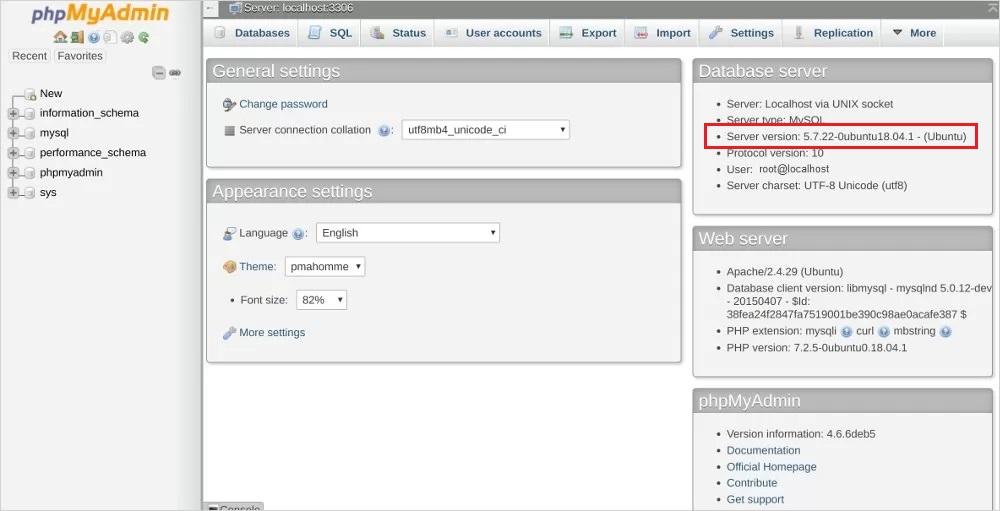 check mysql version phpmyadmin linux
